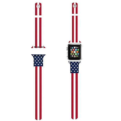 DAZE Silicone Wrist Smart Watch Bands Bracelet Replacement Bands Strap for iWatch for Apple Watch US Flag 38mm or 42mm (38mm)