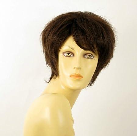 Peluca mujer corto de cabello 100% natural marrón chocolate fiona 6: Amazon.es: Belleza