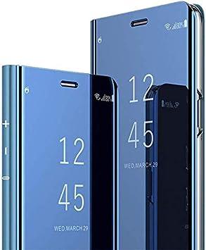 Jinghuash Funda compatible con Huawei Y7 2019 Espejo Teléfono Móvil PU Cuero, Espejo, azul.