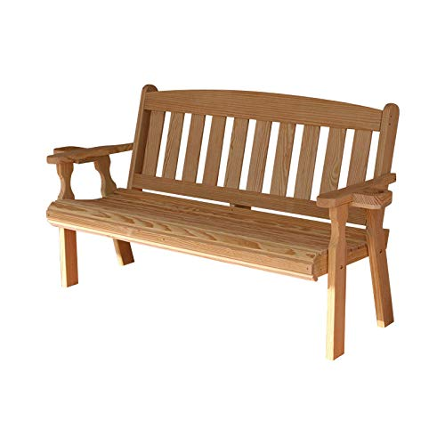 Bench Amish - CAF Amish Heavy Duty 800 Lb Mission Pressure Treated Garden Bench with Cupholders (4 Foot, Unfinished)