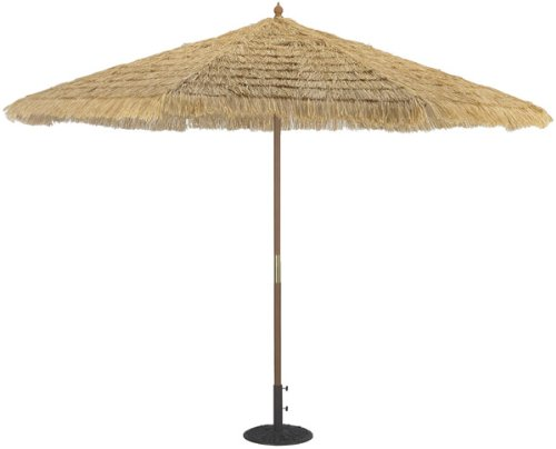 TropiShade 11-Foot Thatched Market Umbrella - This festive beige-colored thatched 11-foot umbrella creates an instant tropical setting Thread Center Pole 1-3/4-Inch 8 Ribs and 4 pulleys - shades-parasols, patio-furniture, patio - 41JIPz cNZL -