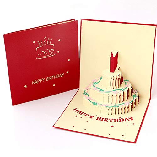 ENJOYPRO Birthday Card, 3D Pop Up Happy Birthday Cake Greeting Cards, Handmad Pop Out Cards With Envelope (3D Birthday Cake, Pack of 1)
