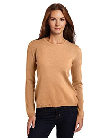 Sofie Women's Long Sleeve 100% Cashmere Crew Neck Sweater, Brown Sugar, Small