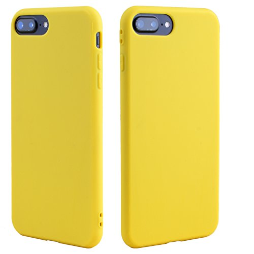 Beatuiphone Case for iPhone 7 Plus Yellow Case, iPhone 8 Plus Yellow Case, Anti-scratch Shockproof Slim Fit Soft Frosted TPU Mobile Phone Case With Lining Cushion for iPhone 7/8 Plus, Yellow (Yellow Silicon Skin Case)