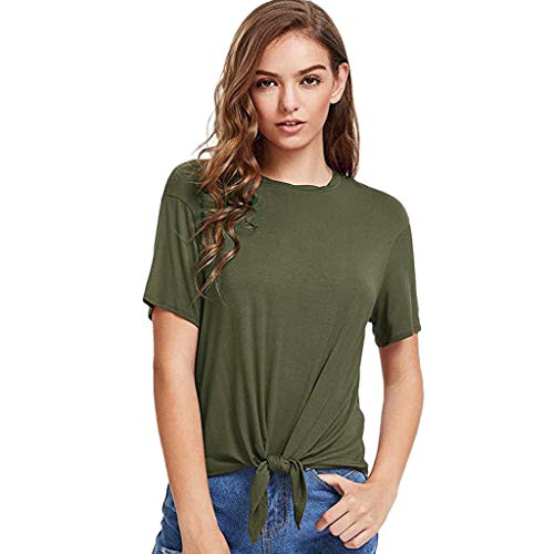 Women's Casual Tie Front Knot Short Sleeve Loose Fit Tops T-Shirt Blouse Tee Army -