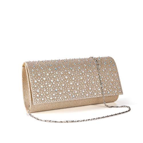 Women Rhinestone Clutch Purse Handbag Crystal Evening Bag Wedding Party Prom Purse. (Gold-1) (Purses Princess Party)