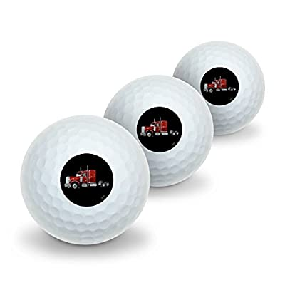 Graphics and More Semi Tractor Trailer Truck Trucker Novelty Golf Balls 3 Pack