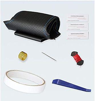 OPOPDLSA Coprivolante in pelle antiscivolo per auto in PU sintetico cucito a mano nero per BMW E71 X6 M 2010-2014 E70 X5 M 2010-2013