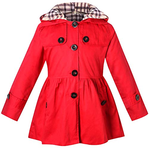 Girl's Long Sleeves Quilted Chino Hooded Hoodie Trench Coat Windbreaker, B-Red, 7-8 Years=Tag -