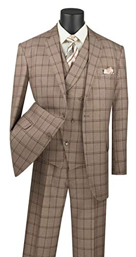 (VINCI Window Pane 2 Button Single Breasted Classic Fit Suit W/Shawl Collar Vest V2RW-12-Khaki-52R)