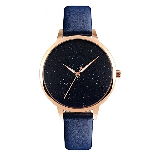J.Market Womens 30 Meters Waterproof Watch Creative Starlight Dial Quartz Watch with Genuine Leather Band (Blue)