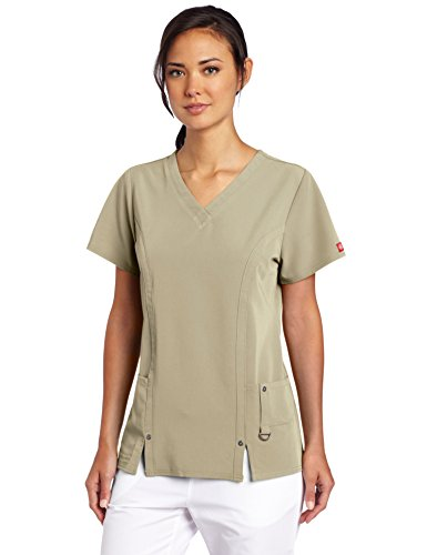 Dickies Women's Xtreme Stretch V-Neck Scrubs Top, Dark Khaki, X-Small