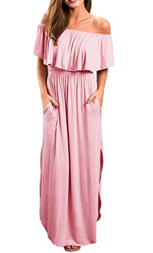 One Shoulder Jersey Dress - I2CRAZY Women Off Shoulder Maxi Jersey Dress(Size-S,Pink)