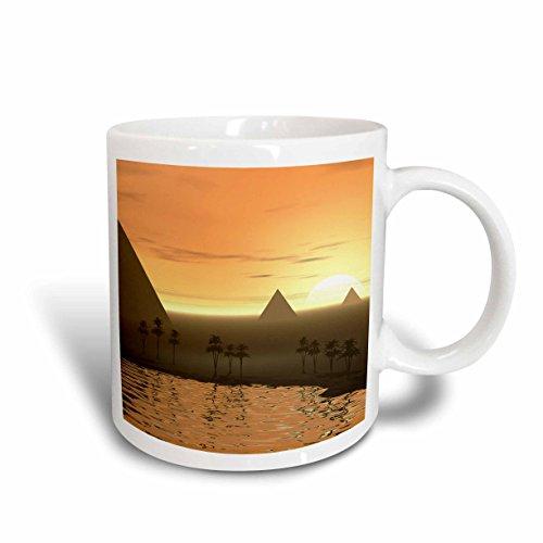 3dRose The Giza Necropolis Sun Rises Over Desert Sands Near Egyptian Pyramids, Ceramic Mug, 11-Oz