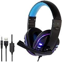 HEADFONE GAMER USB PARA PS4 XBOX ONE COM MICROFONE LED COLORIDO E CABO REFORÇADO EXBOM HF-G310P4 (AZUL)