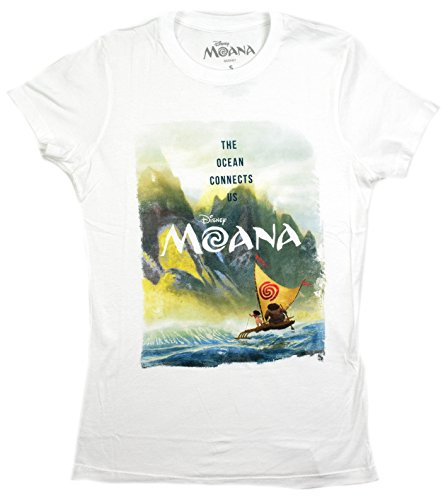 Disney Moana Scene Ocean Connects Us Juniors T-shirt (Large, White)