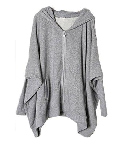CA Fashion Women's Batwing Sleeve Hoodie Outerwear Sweatshirt Grey M to L