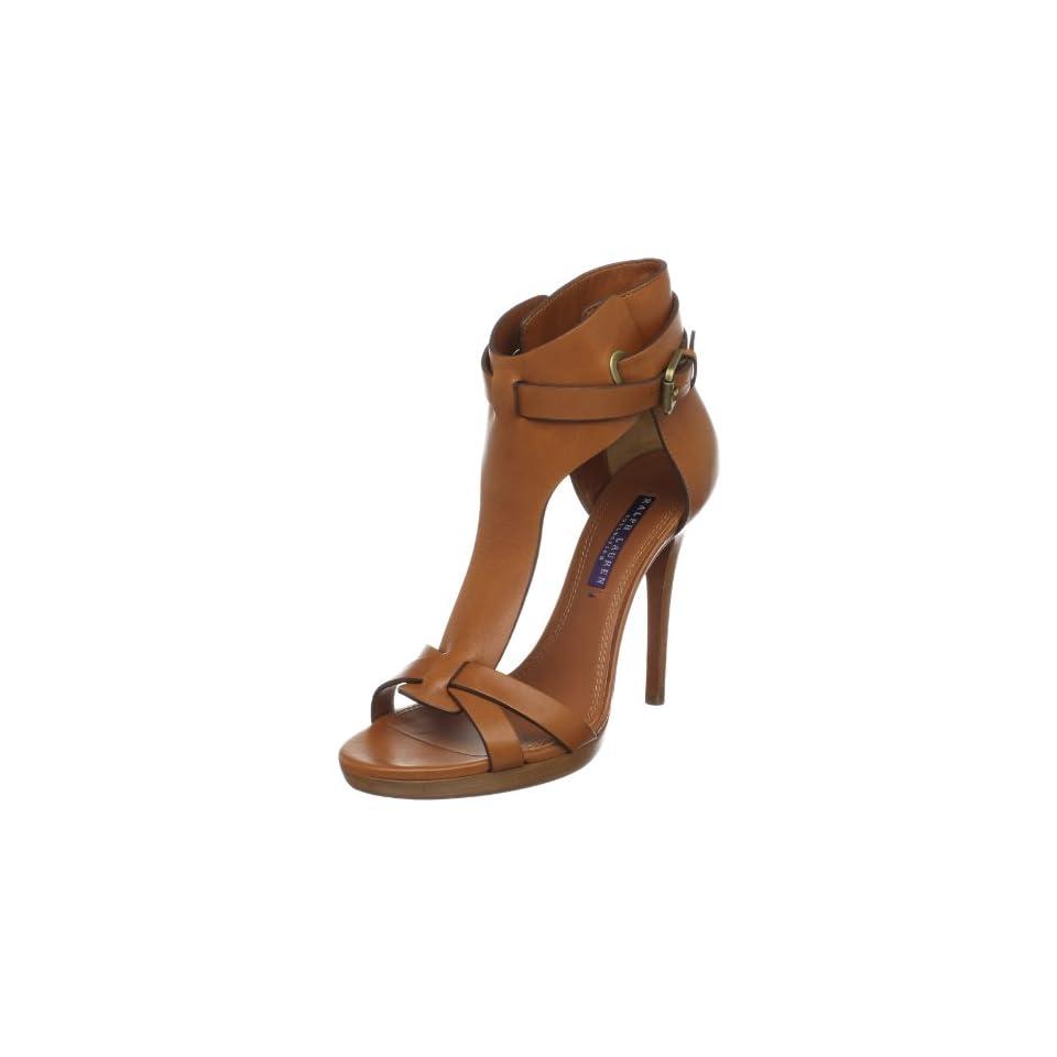 Ralph Lauren Collection Womens Dallyce T Strap Sandal,Rl Gold,5 M US