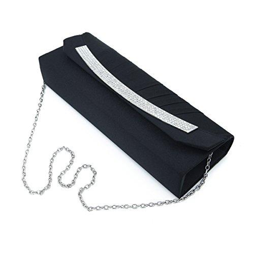 Elegant Pleated Satin Flap Rhinestones Clutch Evening Bag, Black (Satin Clutch Evening)