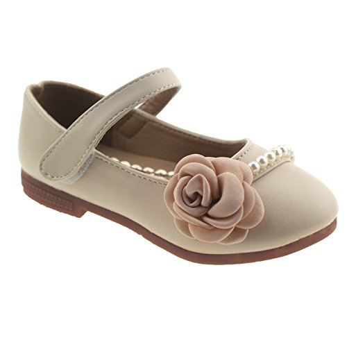 Bella Rosa Toddler Little Girls Dress Ballet Mary Jane Pearl Flat Shoes