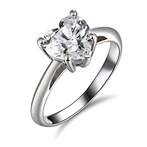 2 Ct Enhanced Diamond(VS) 14k White Gold Heart Solitaire Engagement Ring Promise Wedding Anniversary Band
