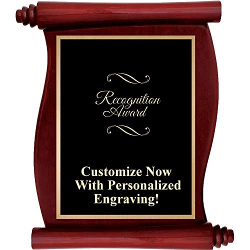 Custom Engraved Rosewood Scroll Plaques, Personalized Recognition Award Plaque with Up to 5 Lines of Engraving Included Prime ()