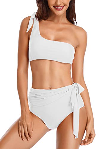 bfb369b7f102b Almaree Tie Shoulder Knot Front High Cut Swimsuit 2 Piece Swimwear for  Ladies White L