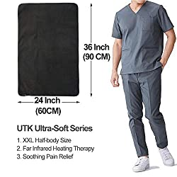 """UTK Ultra-Soft Far Infrared Heating Pad for Pain Relief, Flexible Infrared Heating Therapy for Back, Cramps - XXL [36""""x24""""], EMF Free, Auto Shut Off, Adjustable Temp and MEM Function"""
