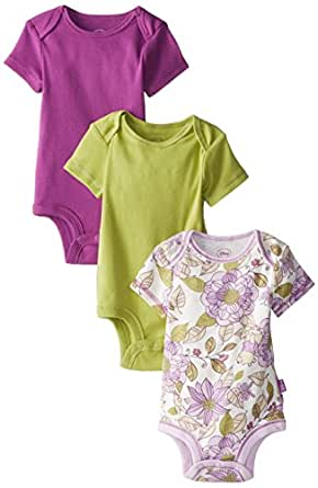 Disney Cuddly Bodysuit  -  Fashion 3 Pack: Winnie the Pooh Floral , White/Purple/Green, 6-9 Months