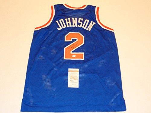 LARRY JOHNSON signed autographed Knicks blue Jersey JSA Witness