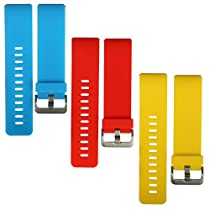 bayite Accessories Silicone Watch Bands for Fitbit Blaze Orangered, Azure and Yellow Large Pack of 3