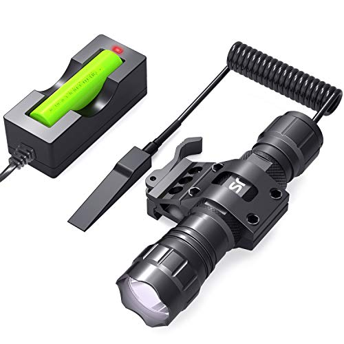 CISNO Tactical Flashlight L2 LED 1000 Lumen Battery and Charger Included with Quick Release Offset Mount Pressure Switch for Rail, Hunting Outdoor Matte Black