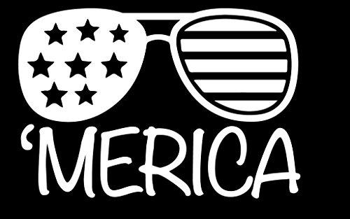 Merica Sunglasses Vinyl Decal Sticker | Cars Trucks Walls Vans Windows Laptops | White | 5.5 X 3.7 Inches | - Logo Sunglasses Q
