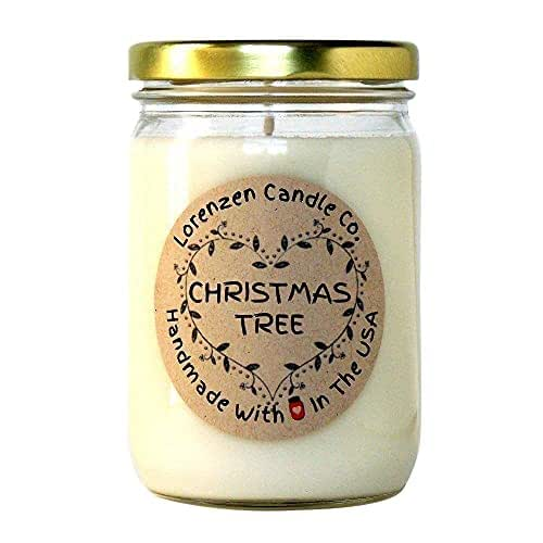 Christmas Tree Soy Candle, 12oz - Handmade in the USA with 100% Soy Wax