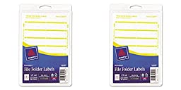 Avery Print or Write File Folder Labels for Laser and Inkjet Printers, 1/3 Cut, Yellow, Pack of 252 (5209), 2 Packs