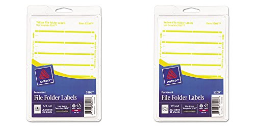 Avery Print or Write File Folder Labels for Laser and Inkjet Printers, 1/3 Cut, Yellow, Pack of 252 (5209), 2 Packs ()
