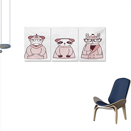 - WinfreyDecor Doodle The Picture for Home Decoration Hand Drawn Animals with Coats Earmuffs and Hats Cartoon Style Illustration Customizable Wall Stickers 16