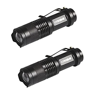 Super Mini Powerful Stronglight Tactical LED Flashlight CybGENE 2 Pieces Hamal V1, Portable Pocket Flashlight for Outdoor, 3 Modes (High/Low/Strobe), Battery Included, a Survival Tool as Extra Bonus by CybGENE