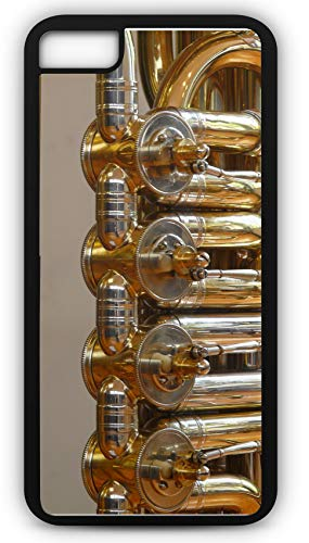 Brass Tuba Bass (iPhone 8 Plus 8+ Case Tuba Rotary Valves Stimmzug Brass Instrument Customizable by TYD Designs in Black Rubber)
