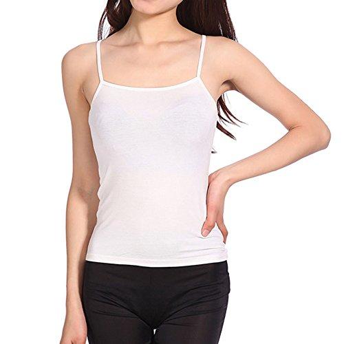 Clearance Women Summer Fashion Sexy Loose Thin Chiffon Spaghetti Strap Camisole Casual Tank Top (White) - Cotton Microfiber T-shirt