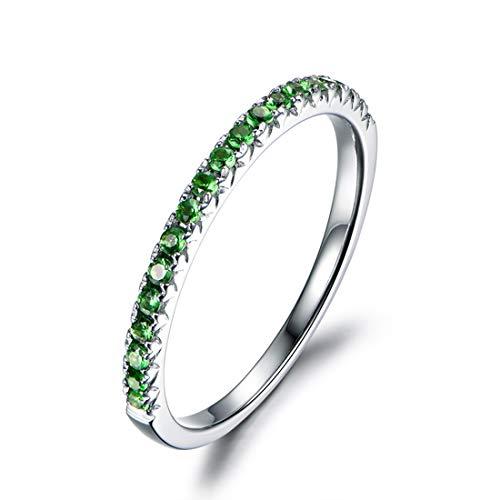 Carleen 14k Solid Gold Sapphire/Ruby/Tsaverite Eternity Band Ring for Women Girls (tsavorite, 7)