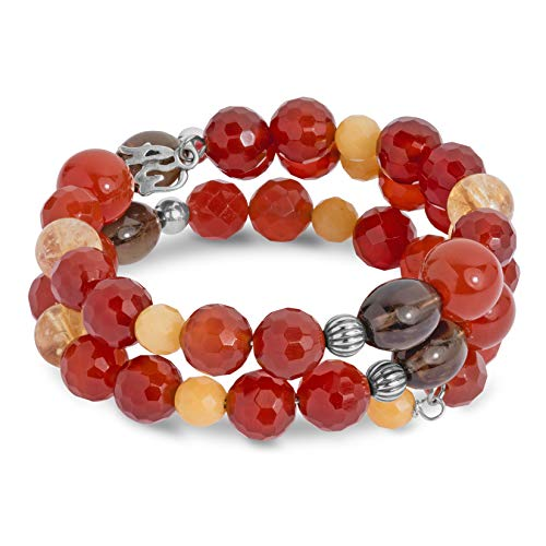 American West Sterling Silver Earth Tones Coil Bracelet in Carnelian, Smoky Quartz & Jasper ()
