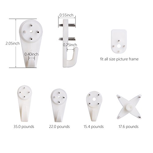 Greenour wall picture hooks Invisible Traceless Hardwall Drywall picture hangers hanging for picture frame Nail-In Hooks 42 pcs