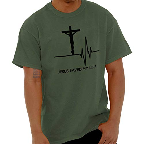 Jesus Saved My Life God Christian Sacrifice T Shirt Tee Military Green