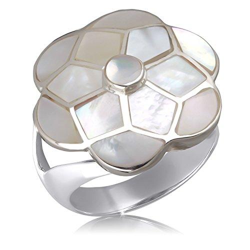 Aden's Jewels Women's 925 K SS Flower White Mother Of Pearl Set W/ Earrings & Pendant Nickel Free