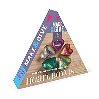 Craft-tastic Make and Give Heart Bowls – Craft Kit Makes 5 Heart-Shaped Glitter Bowls to Decorate & Share