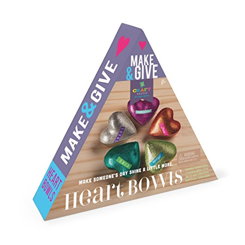 Craft-tastic Make and Give Heart Bowls - Craft Kit Makes 5 Heart-Shaped Glitter Bowls to Decorate & Share (Paper Mache Glue Kits Glitter)