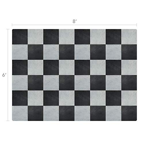Vinyl Floor Mat, Durable, Soft and Easy to Clean, Ideal for Kitchen Floor, Dining Room or Play Mat. Freestyle, Courtyard Versailles Pattern (6 ft x 8 ft) (Floor Vinyl Checkered)
