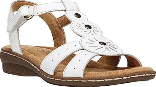 Natural Soul Womens Barroll T Strap Sandal,White Leather,US 8.5 W