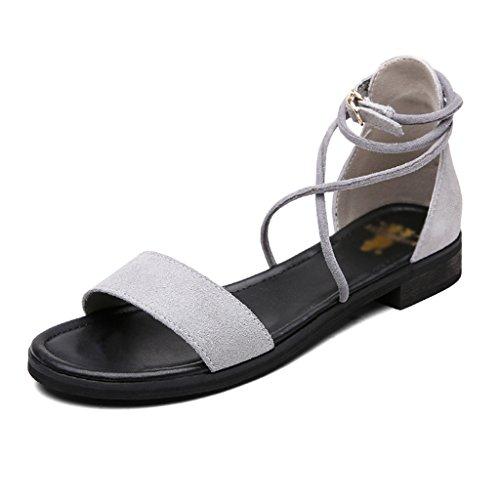 Schuhe Rom Toe Farbe Wort ZCJB Größe Grau Sandalen Open Damenschuhe Flache Flache Ferse Sommer 35 weibliche Braun Freizeit 17FnWIwq